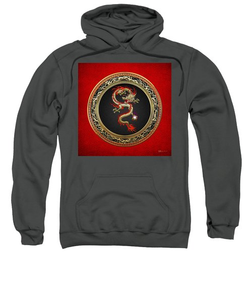 Golden Chinese Dragon Fucanglong On Red Leather  Sweatshirt