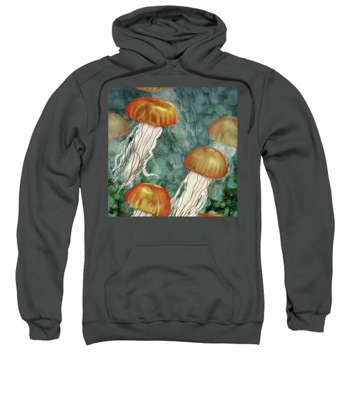 Golden Jellyfish In Green Sea Sweatshirt