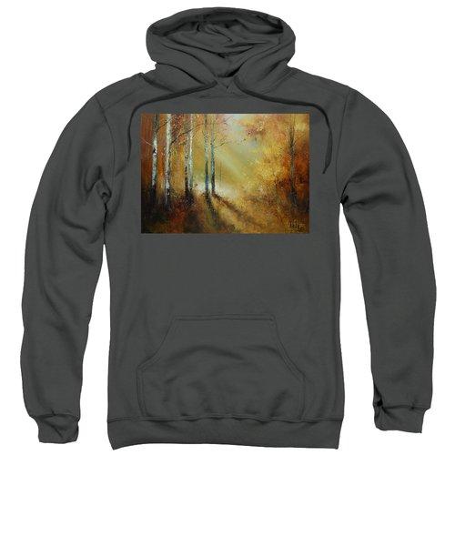 Golden Light In Autumn Woods Sweatshirt