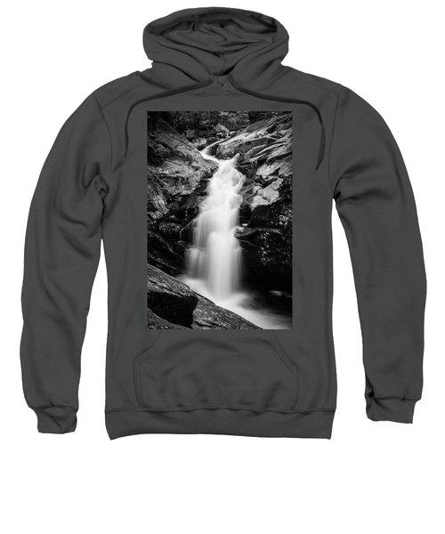 Gorge Waterfall In Black And White Sweatshirt