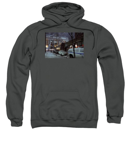 Grand Central Station Manhattan Ny View From E43rd St And Park Avenue At Late Night Snow Storm Sweatshirt