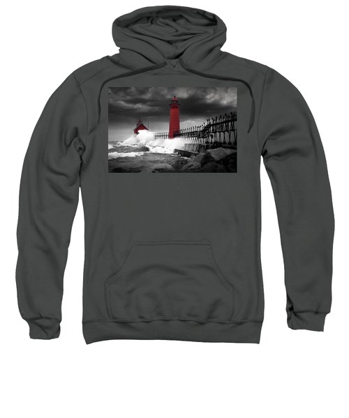 Grand Haven Lighthouse In A Rain Storm Sweatshirt