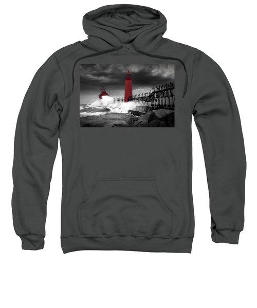 Grand Haven Lighthouse In A Rain Storm Sweatshirt