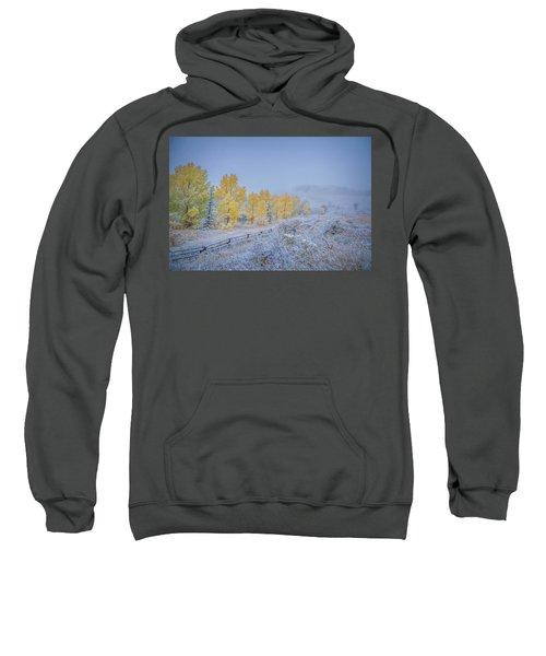 Grand Teton Fall Snowfall Scene Sweatshirt