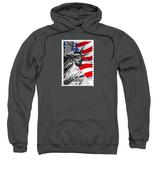Graphic Statue Of Liberty With American Flag Text Usa Sweatshirt by Elaine Plesser