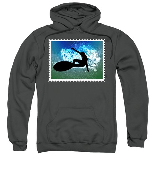 Graphic Surfer In Green And Blue Ocean Foam Sweatshirt