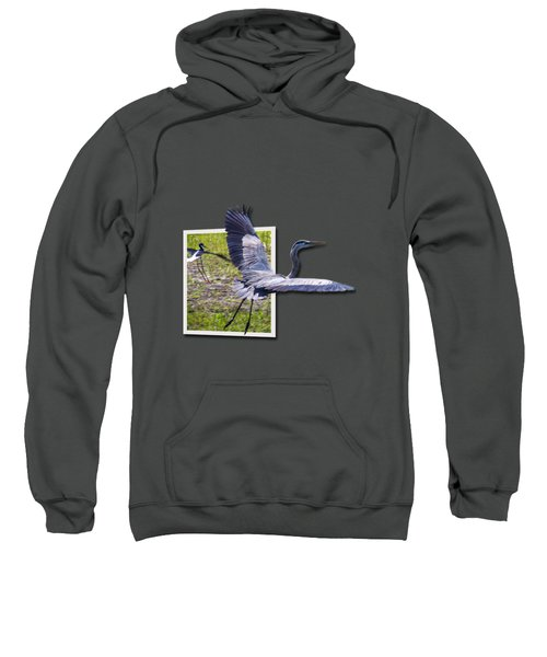 Great Blue Heron Takes Flight Sweatshirt by Roger Wedegis