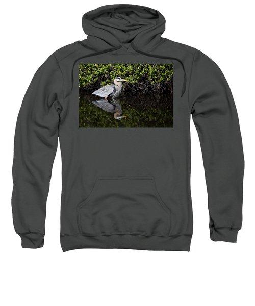 Great Blue Heron With Reflection Sweatshirt
