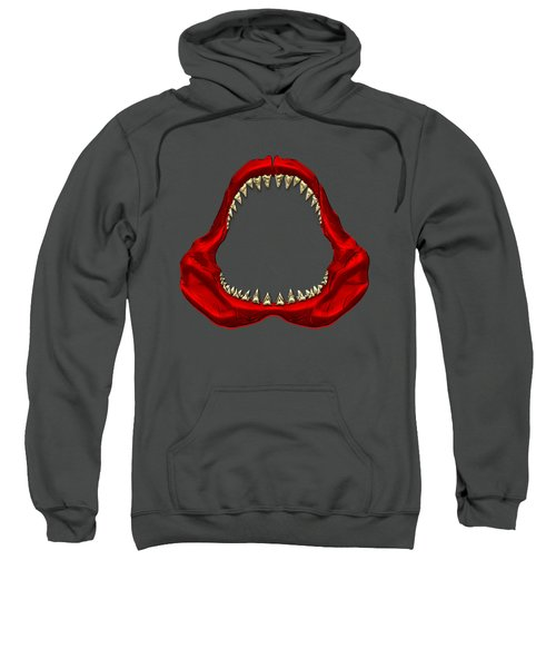 Great White Shark - Red Jaws With Gold Teeth On Red Canvas Sweatshirt by Serge Averbukh