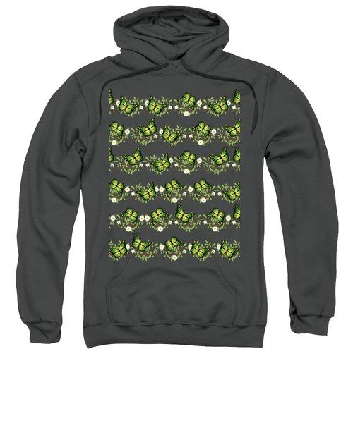 Green Butterflies Pattern Sweatshirt