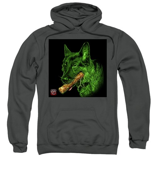 Green German Shepherd And Toy - 0745 F Sweatshirt