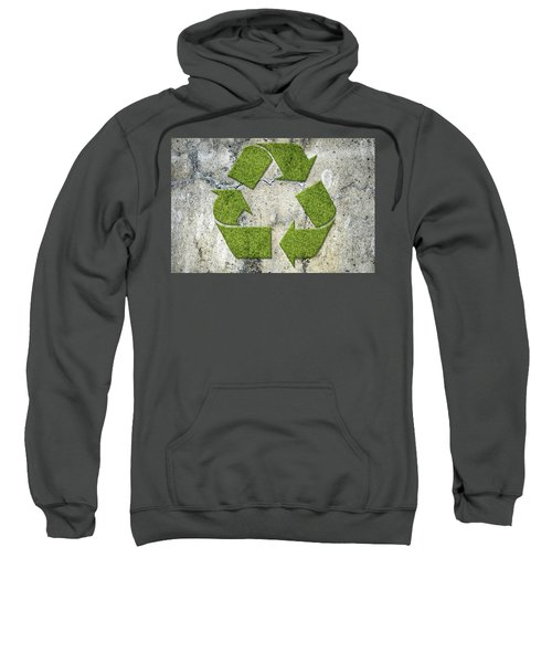 Green Recycling Sign On A Concrete Wall Sweatshirt by GoodMood Art