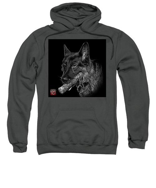 Greyscale German Shepherd And Toy - 0745 F Sweatshirt