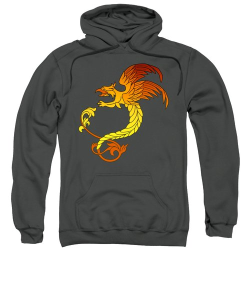 Griffin Griffon Gryphon In Flaming Colours Sweatshirt by Heidi De Leeuw