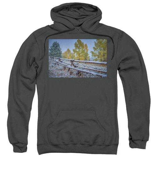 Gros Ventre Grand Teton Fall Snowfall Fence Sweatshirt