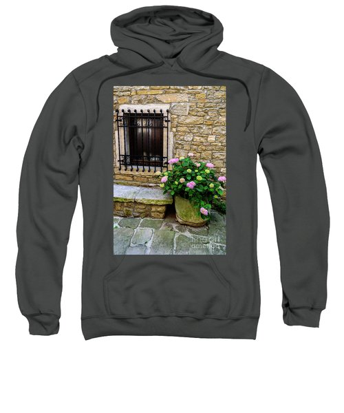Groznjan Istrian Hill Town Stonework And Flowerpot - Istria, Croatia Sweatshirt