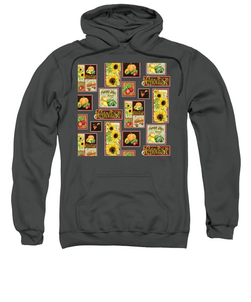 Harvest Market Pumpkins Sunflowers N Red Wagon Sweatshirt