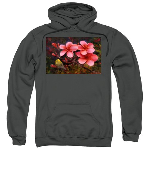 Hawaiian Pink Plumeria And Amakihi Bird Sweatshirt