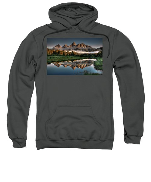 Hazy Reflections At Scwabacher Landing Sweatshirt by Ryan Smith