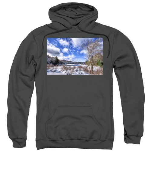 Sweatshirt featuring the photograph Heavy Snow At The Green Bridge by David Patterson