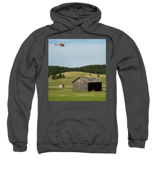 Helicopter Dips Water At Heliwell Sweatshirt