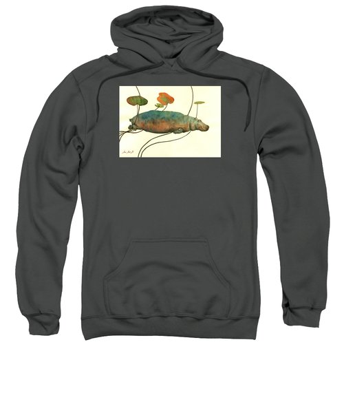 Hippo Swimming With Water Lilies Sweatshirt by Juan  Bosco