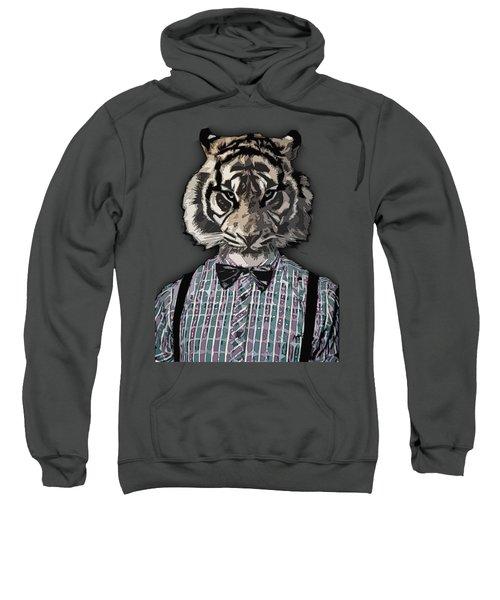 Hipster Tiger  Plaid Shirt Vintage Dictionary Art Beatnik Art Sweatshirt