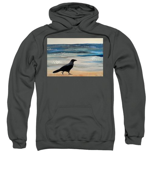 Hooded Crow At The Black Sea By Dora Hathazi Mendes Sweatshirt