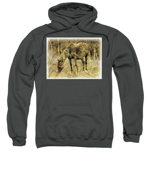 Horse Grazing On Pasture 2 Sweatshirt