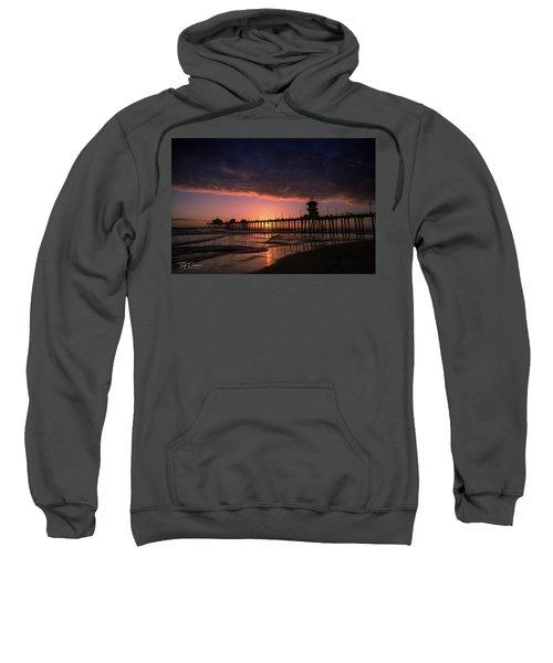 Huntington Pier At Sunset Sweatshirt