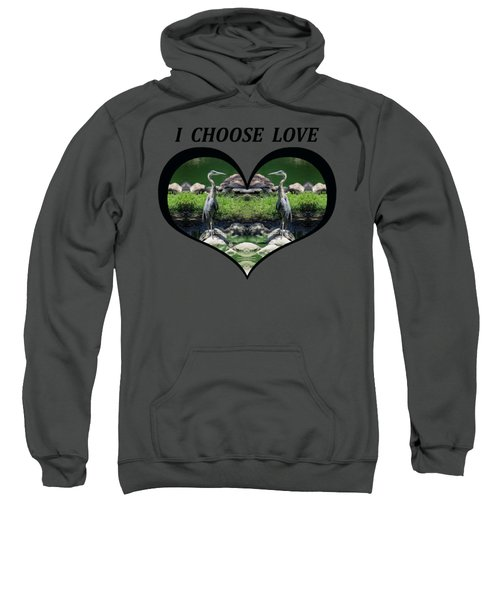 I Chose Love With A Heart Framing Blue Herons Sweatshirt by Julia L Wright