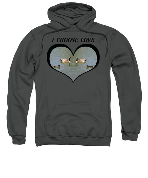 I Chose Love With A Spoonbill Duck And Geese On A Pond In A Heart Sweatshirt by Julia L Wright