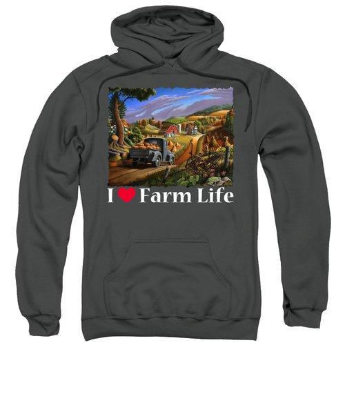 I Love Farm Life Shirt - Taking Pumpkins To Market - Farm Landscape Sweatshirt