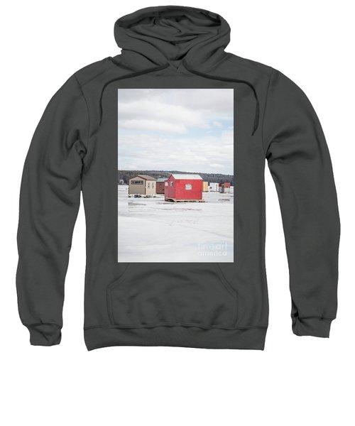 Ice Fishing Shacks On Lake Winnipesaukee Sweatshirt