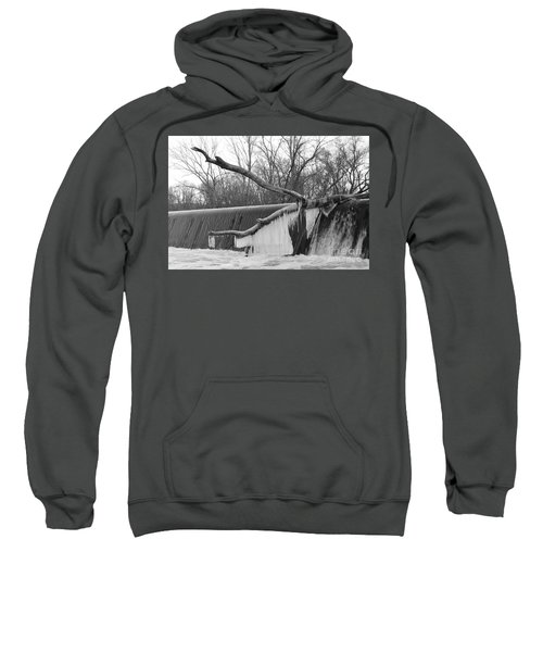 Icicle Laden Branch Over The Waterfall Sweatshirt