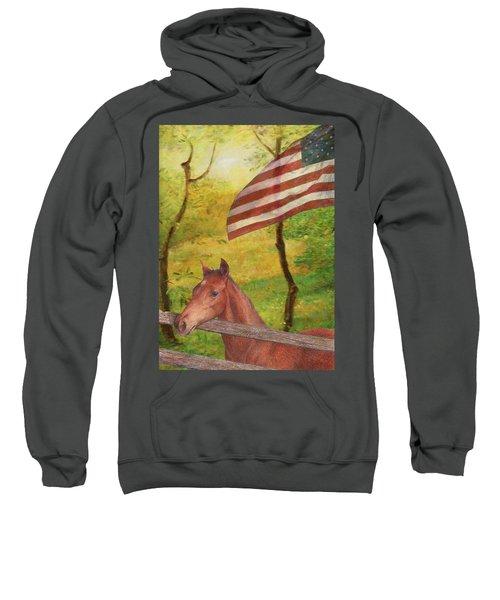 Illustrated Horse In Golden Meadow Sweatshirt
