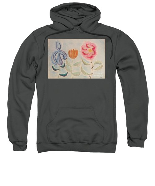 Sweatshirt featuring the painting Imagined Flowers Two by Rod Ismay