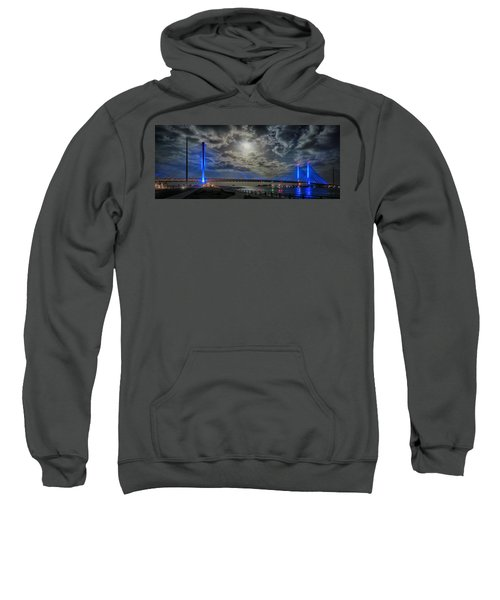 Indian River Bridge Moonlight Panorama Sweatshirt