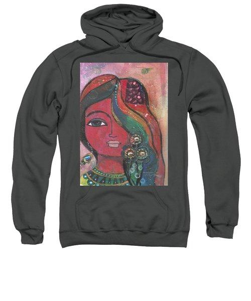 Indian Woman With Flowers  Sweatshirt