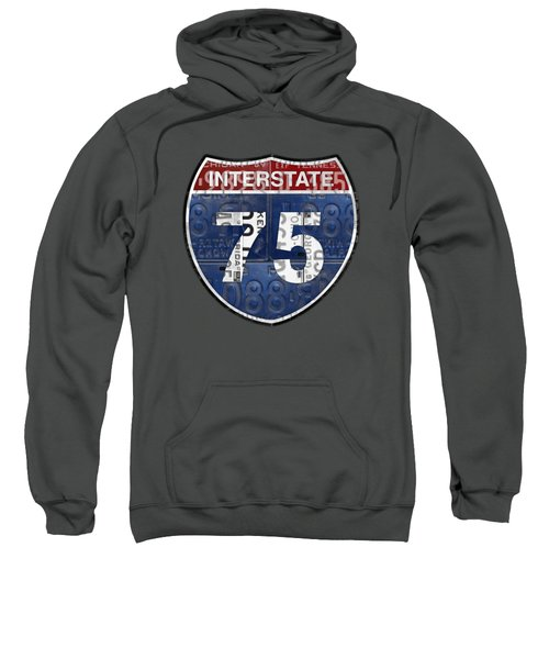 Interstate 75 Highway Sign Recycled Vintage License Plate Art On Striped Concrete Sweatshirt