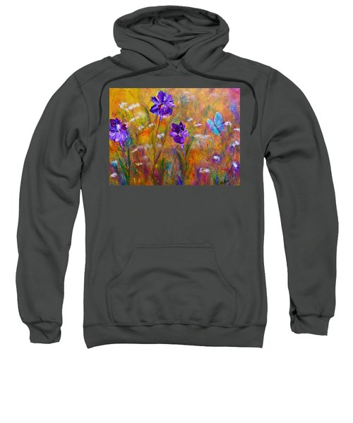 Iris Wildflowers And Butterfly Sweatshirt