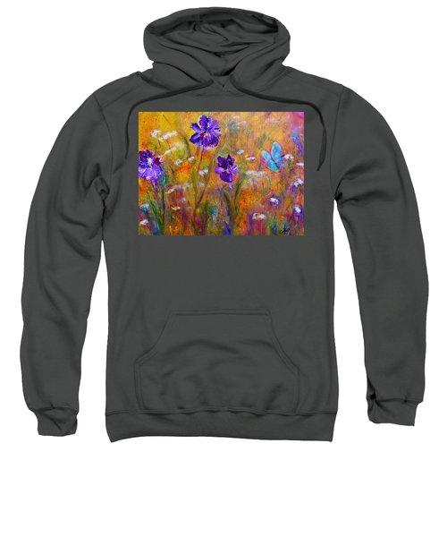 Iris Wildflowers And Butterfly Sweatshirt