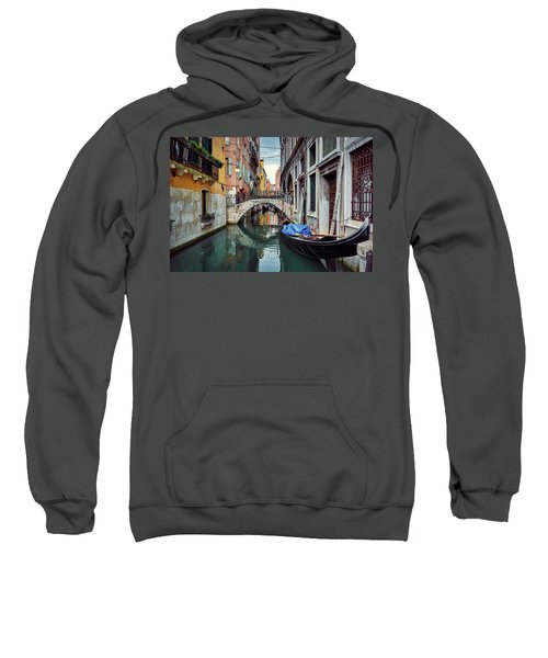 Gondola Parked On Lonely Water Canal In Venice, Italy Sweatshirt