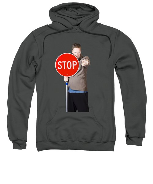 Isolated Man Holding Red Traffic Stop Sign Sweatshirt