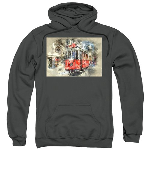 Istanbul Turkey Red Trolley Digital Watercolor On Photograph Sweatshirt