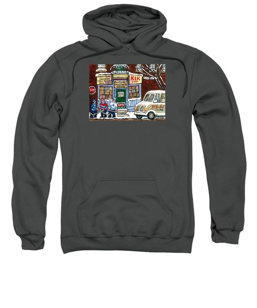 J J Joubert Vintage Milk Truck At Marvin's Grocery Montreal Memories Street Hockey Best Hockey Art Sweatshirt