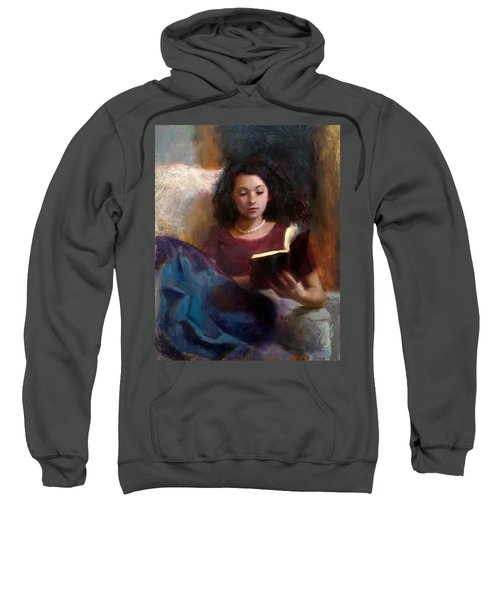 Jaidyn Reading A Book 1 - Portrait Of Young Woman - Girls Who Read - Books In Art Sweatshirt