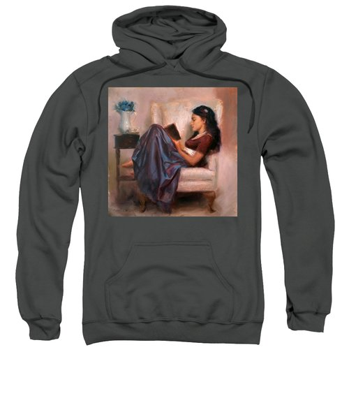 Jaidyn Reading A Book 2 - Portrait Of Woman Sweatshirt