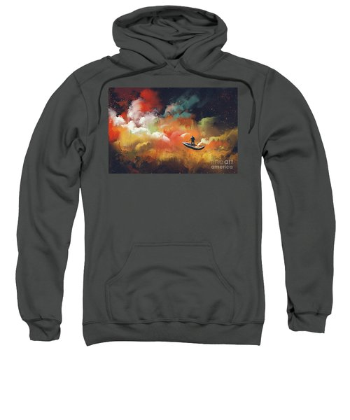 Sweatshirt featuring the painting Journey To Outer Space by Tithi Luadthong