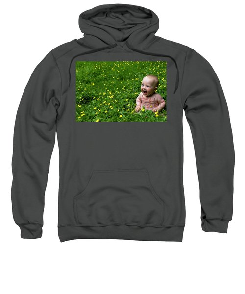 Joyful Baby In Flowers Sweatshirt